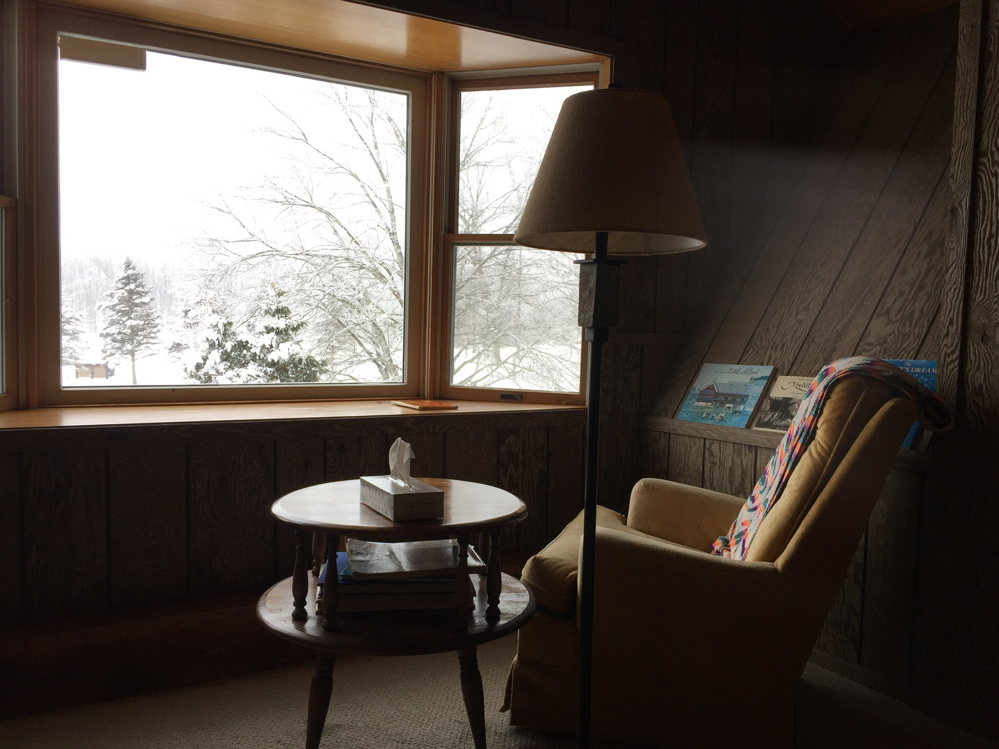 Comfortable chair at window with winter scene